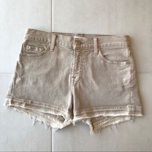 7 For All Mankind Distressed Raw Edge Shorts